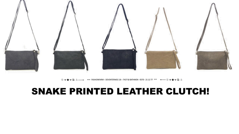 *** SNAKE PRINTED LEATHER CLUTCH! ***