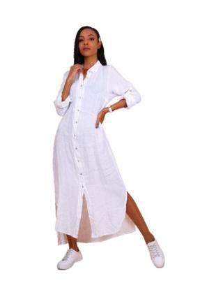 Afbeeldingen van LONG LINEN  WHITE DRESS